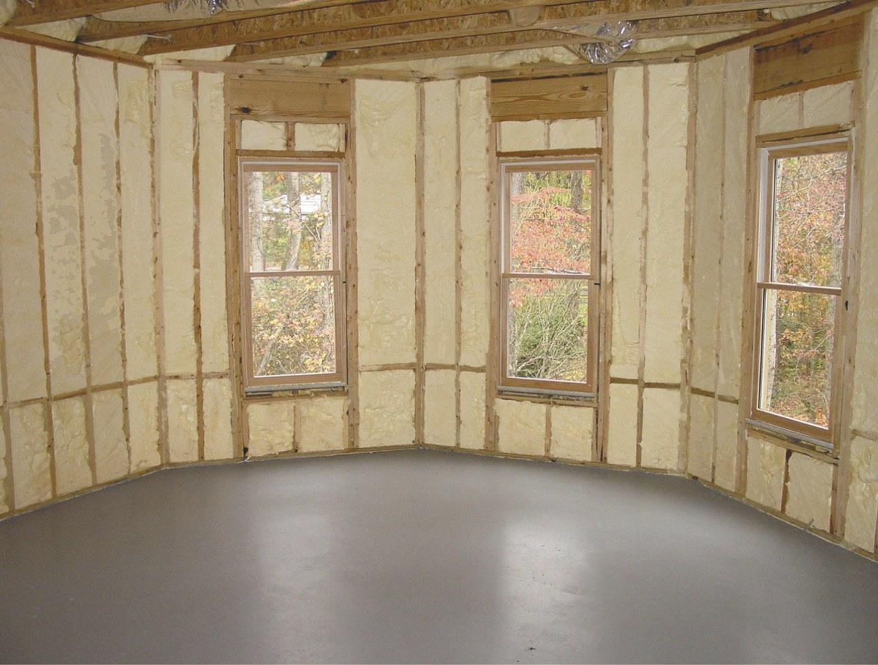 Icynene Spray Foam starts of as a liqquid ceiling, floor, home, interior design, property, real estate, wall, window, orange, gray, brown