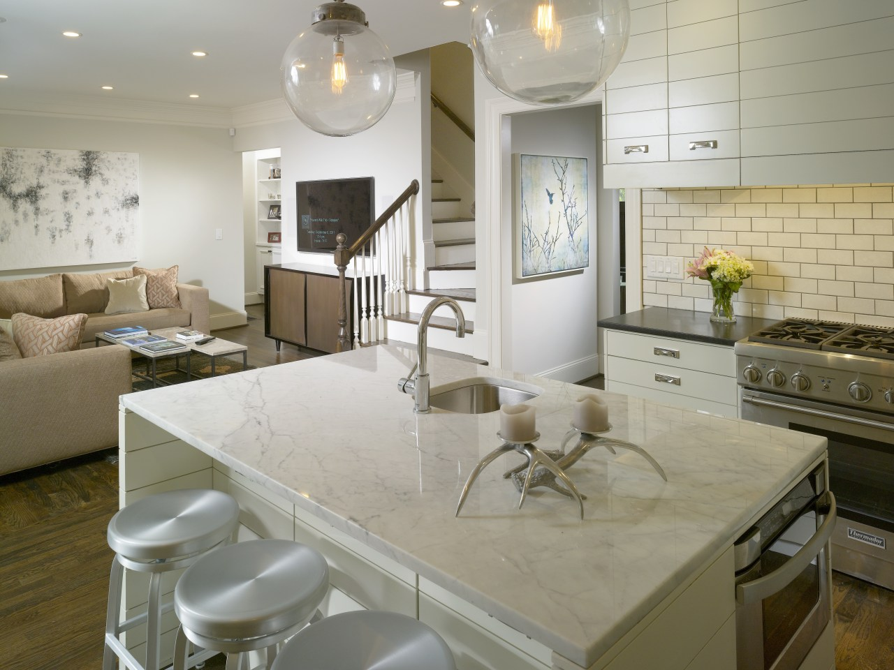 View of kitchen by Designer Willis Watts. Remodelled ceiling, countertop, flooring, home, interior design, kitchen, living room, real estate, room, gray