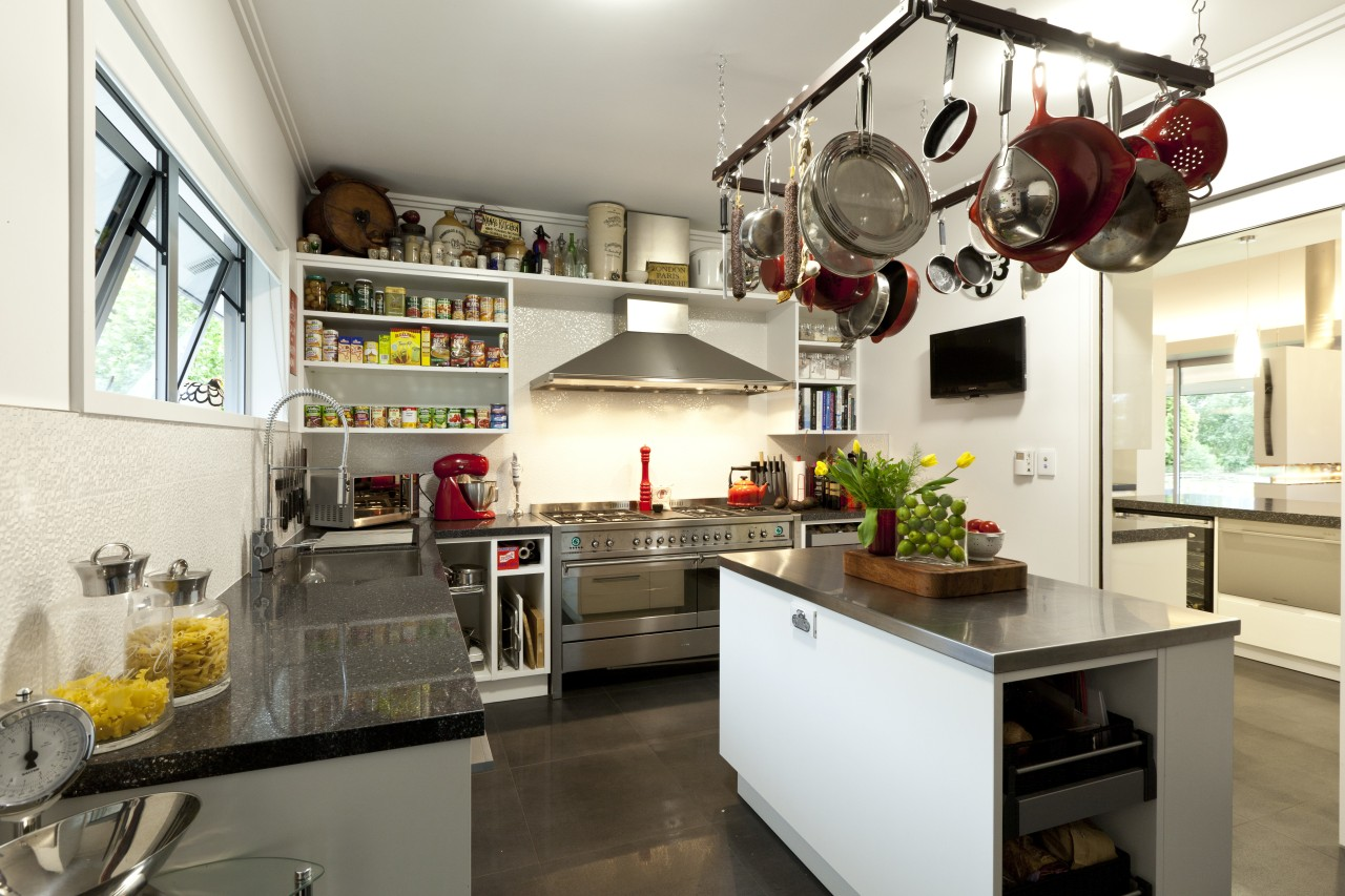 scullery, centre island, pots and pans hanging from countertop, interior design, kitchen, room, white