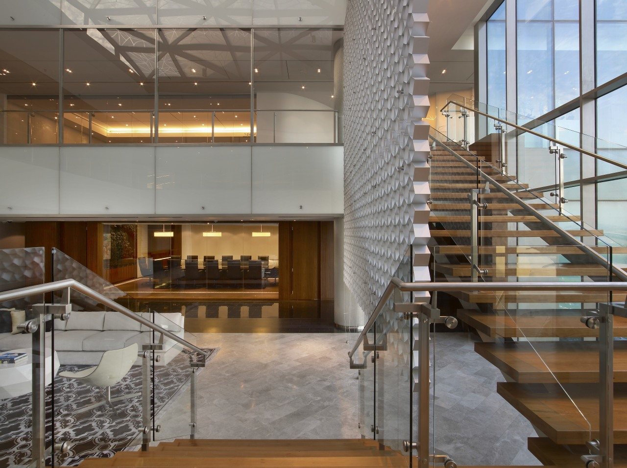 Wooden stairs with grey cutout feature wall. architecture, ceiling, glass, handrail, interior design, lobby, stairs, gray, brown