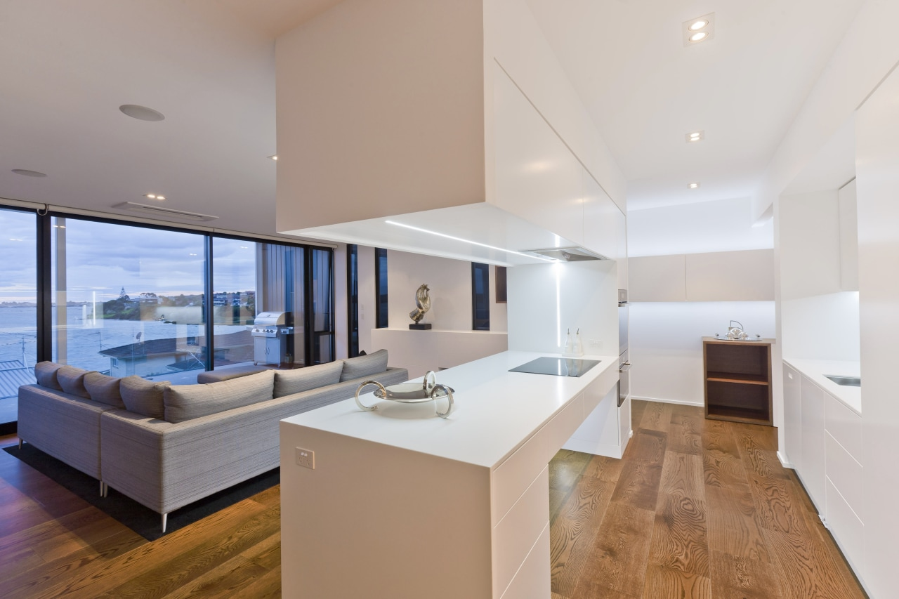 A view of the open plan kitchen and apartment, architecture, ceiling, estate, floor, house, interior design, living room, penthouse apartment, property, real estate, gray