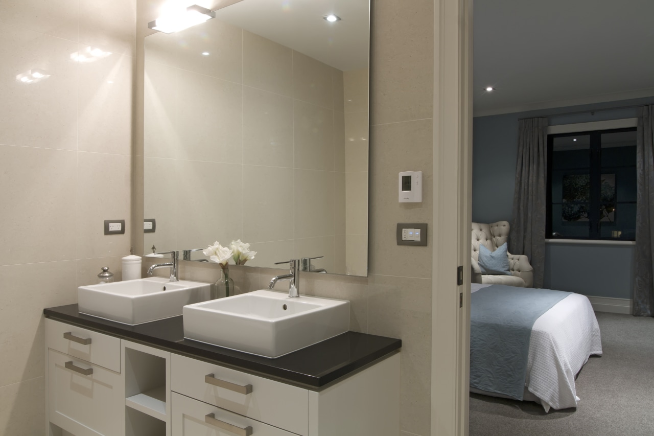 Ensuite with twin contemporary raised basins. bathroom, home, interior design, room, sink, gray