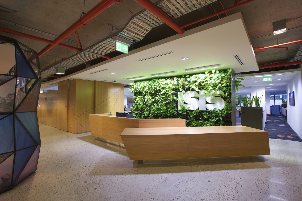 ISIS foyer with wooden reception area and green architecture, ceiling, interior design, lobby, brown
