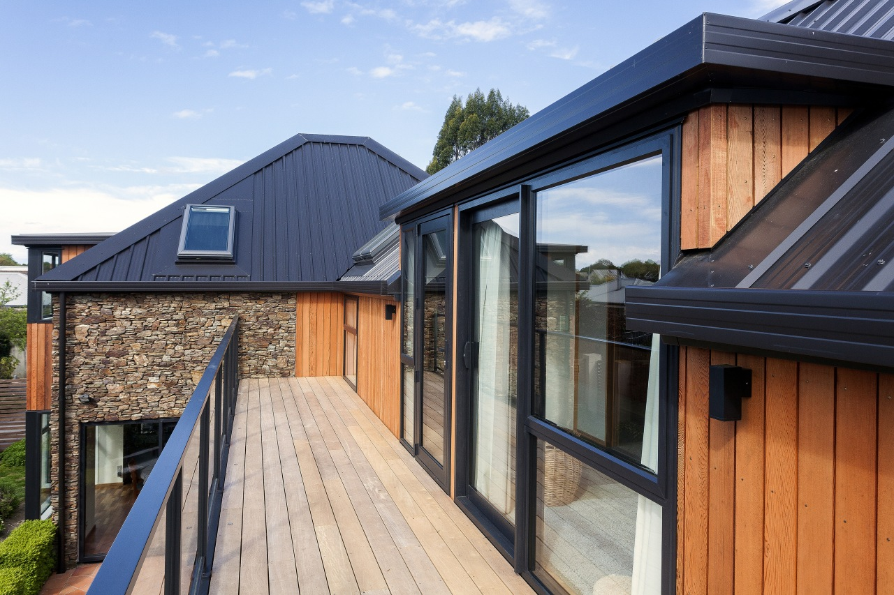 The clean lines of profiled metal roofing were