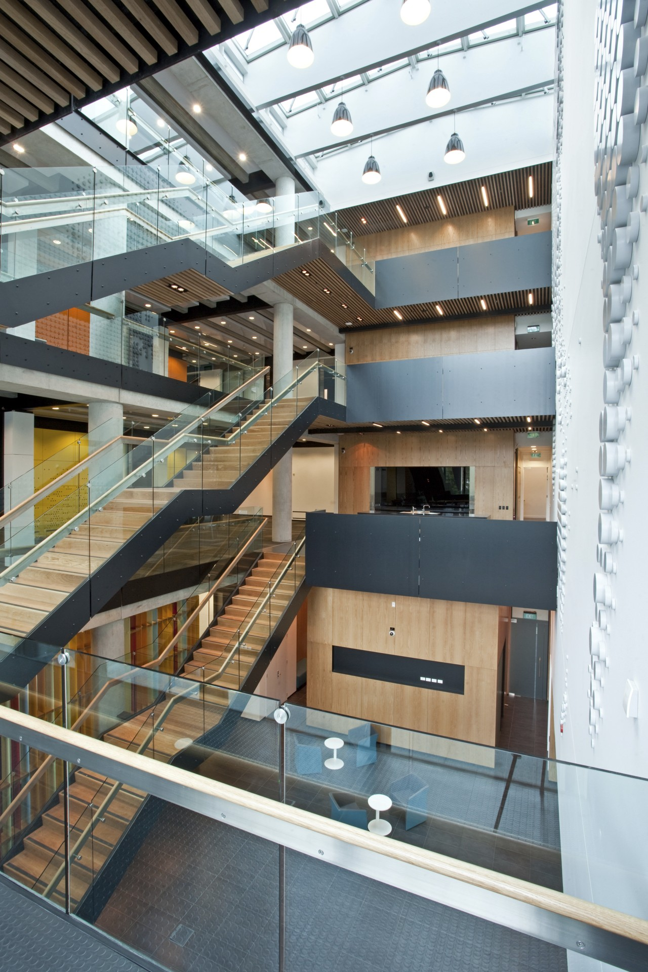 View of different levels of University building. architecture, building, daylighting, stairs, white
