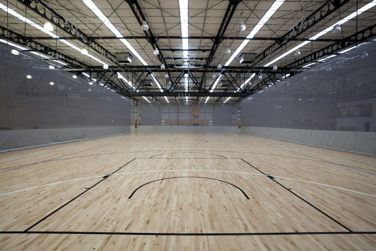 Indoor court with black lines. arena, ceiling, daylighting, floor, flooring, leisure centre, line, sport venue, structure, wood, wood flooring, gray