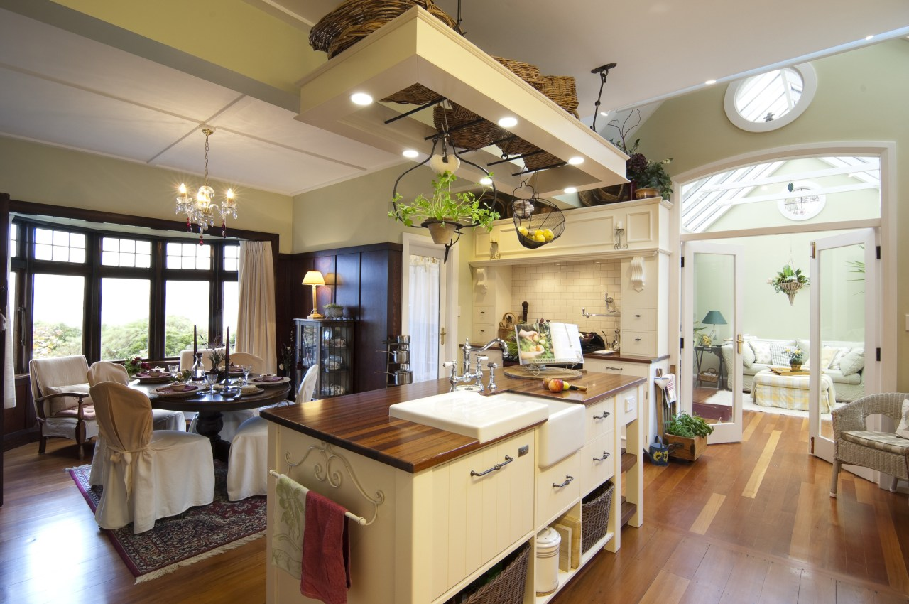 view of kitchen and dining room and out ceiling, countertop, cuisine classique, estate, home, interior design, kitchen, living room, real estate, room, brown