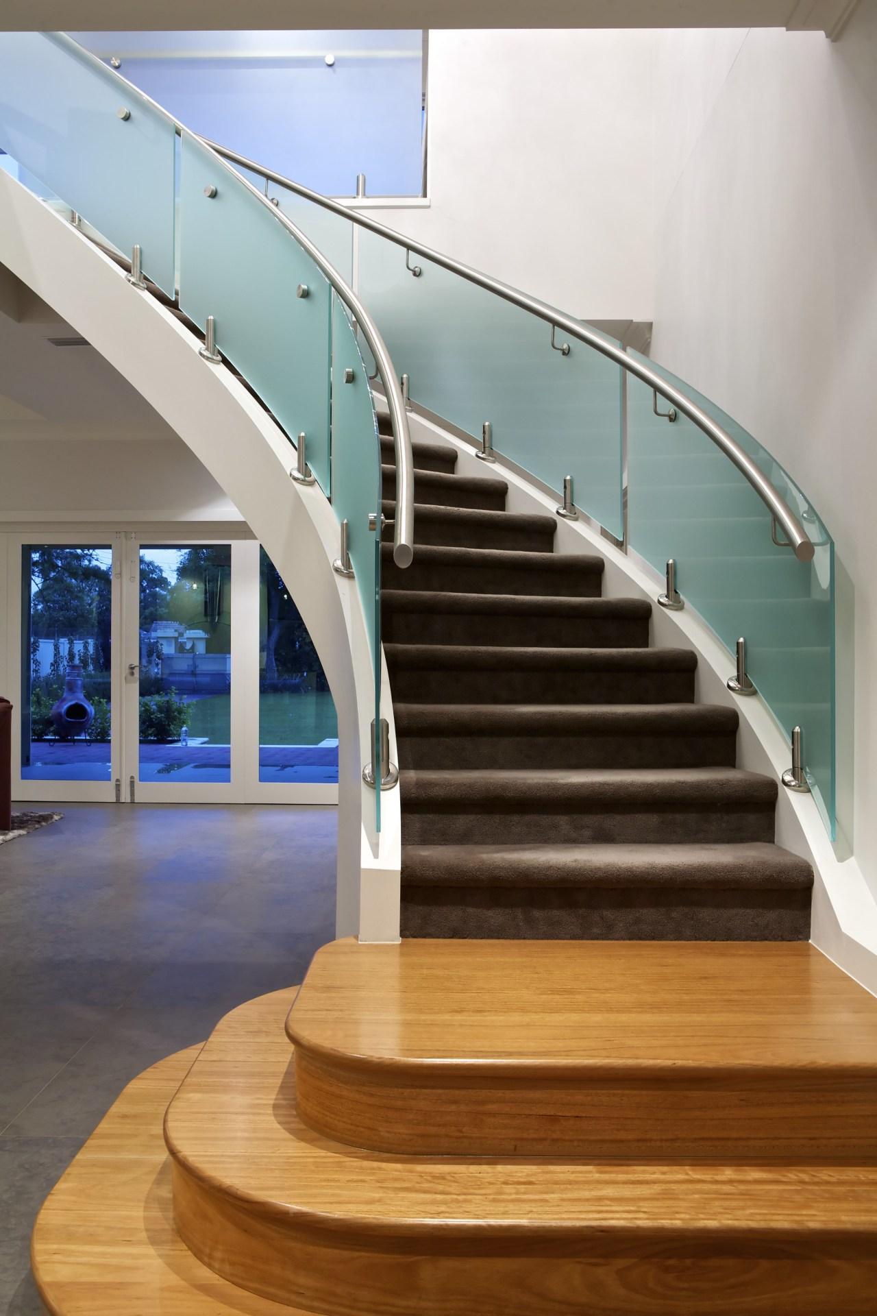 Glass staircase. daylighting, floor, glass, handrail, hardwood, interior design, stairs, wood