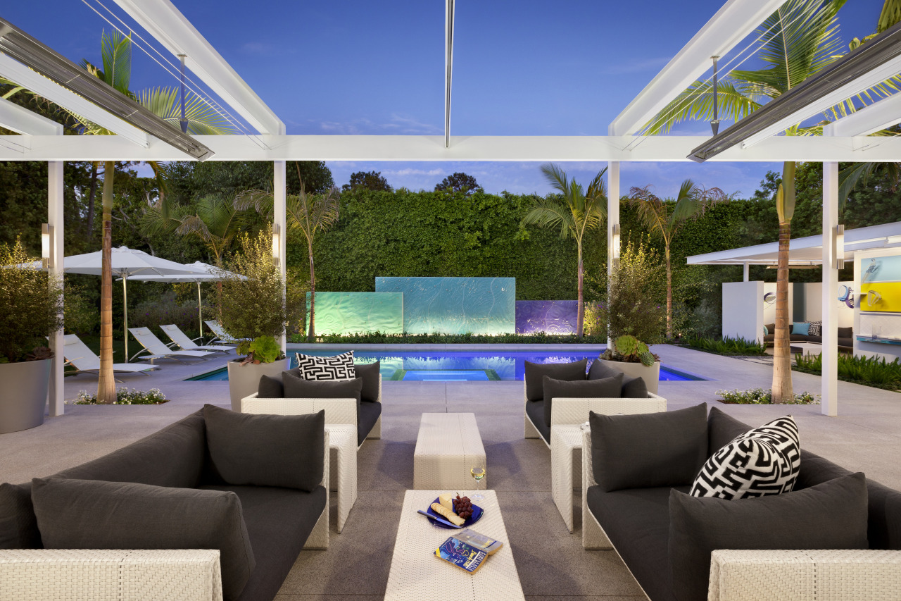 View of the pool and patio areas. The estate, interior design, property, real estate, resort, villa, gray