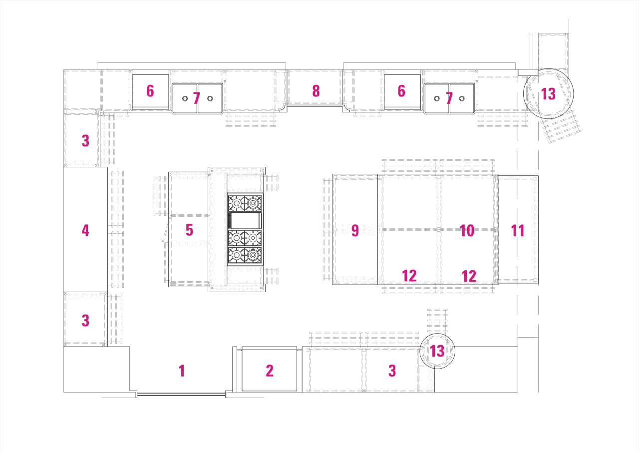Legend to plan of kitchen by Leon Hous: angle, area, design, diagram, floor plan, font, line, pattern, plan, product, product design, purple, structure, text, white