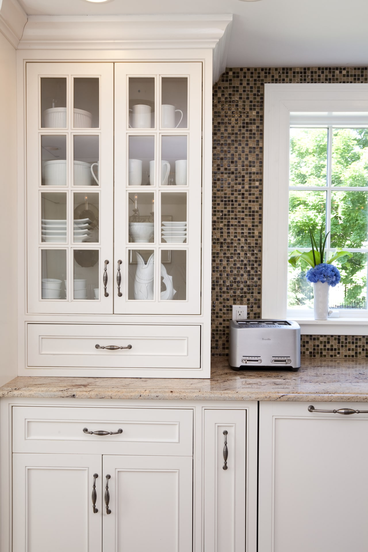 Country style family kitchen cabinetry, countertop, cuisine classique, cupboard, furniture, home, kitchen, shelf, shelving, window, white