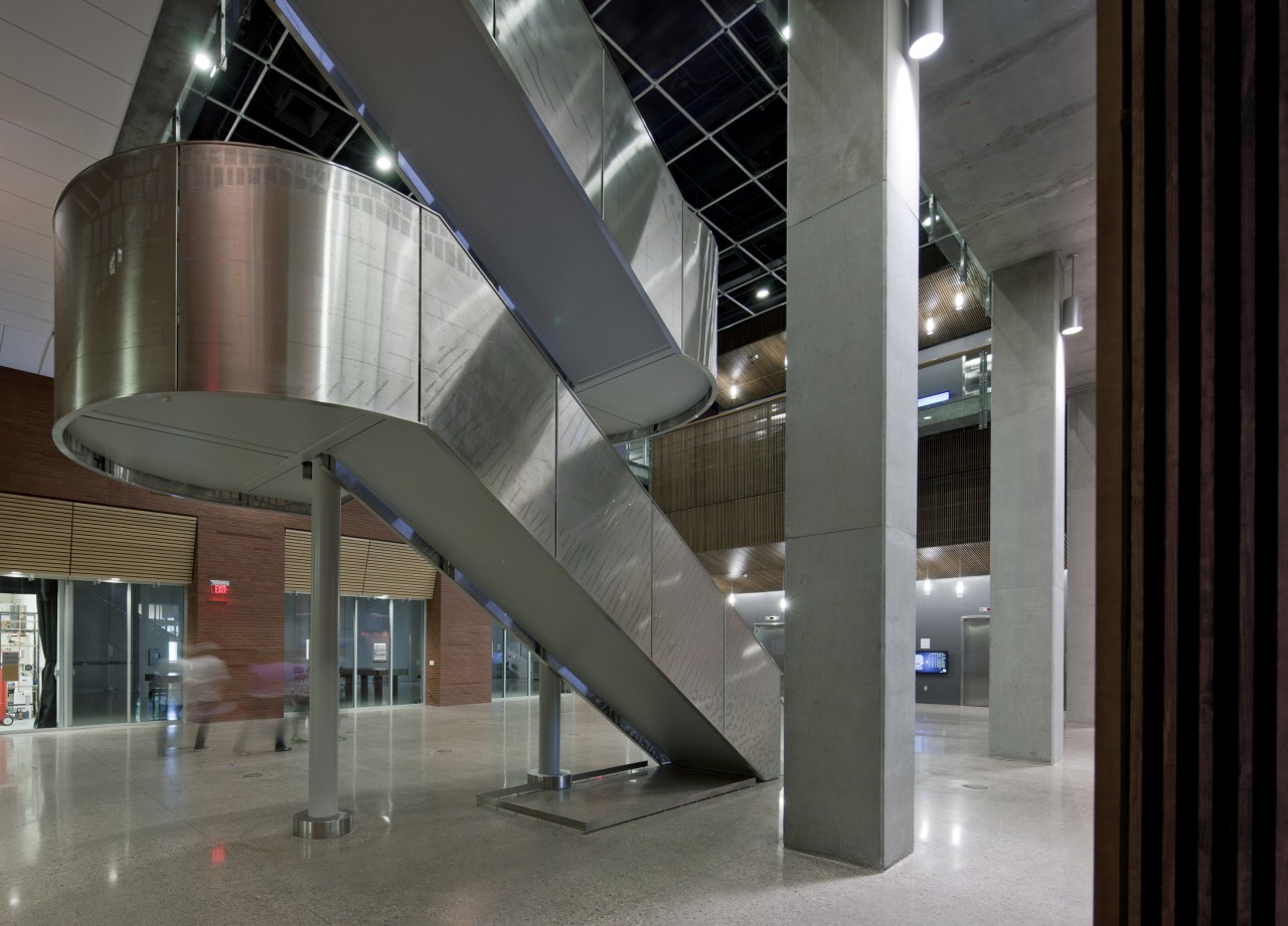 Arizona State University Interdisciplinary Science and Technology Building architecture, building, glass, interior design, lobby, stairs, structure, gray, black