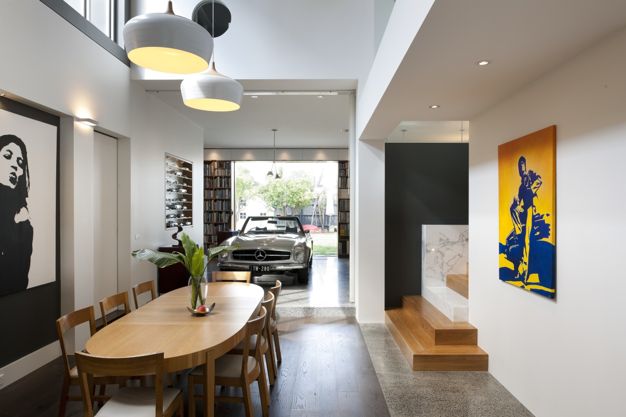 When designing his own modern, open-plan house, architect ceiling, interior design, lobby, real estate, white