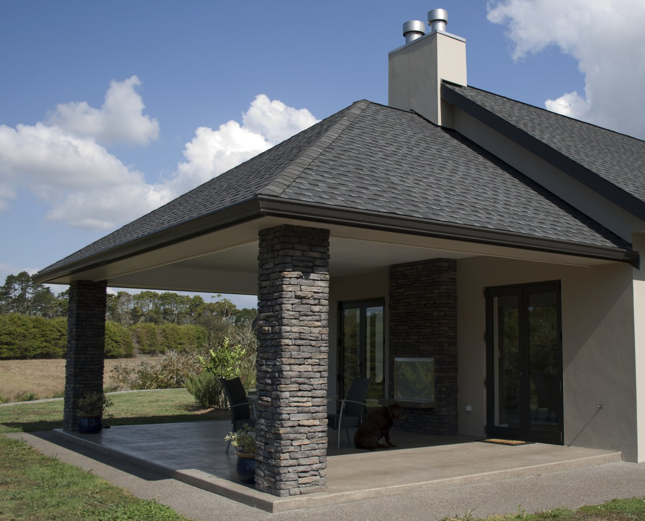 Ledgestone by Stutex Stone facade, home, house, outdoor structure, real estate, roof, siding, gray, black