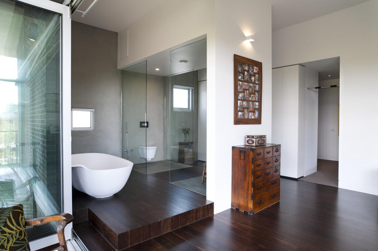 Architect Taras Wolf master bathroom architecture, bathroom, ceiling, floor, flooring, interior design, real estate, room, gray