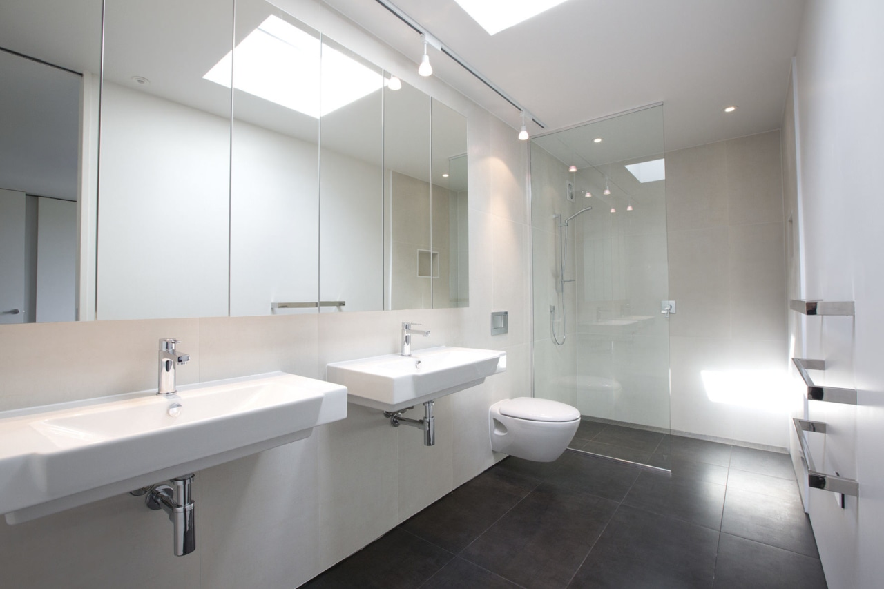 bathroom at The Life at Home street of architecture, bathroom, floor, interior design, plumbing fixture, product design, property, real estate, room, sink, gray, white