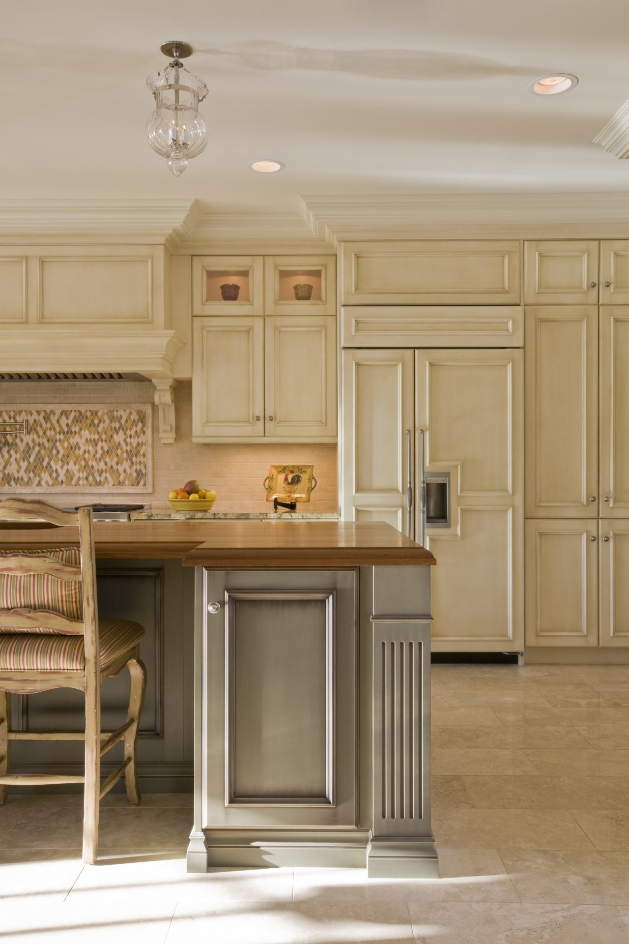 The semi-integrated refrigerator in this kitchen by Rill cabinetry, countertop, cuisine classique, floor, flooring, furniture, hardwood, home, interior design, kitchen, room, wood flooring, orange, gray, brown