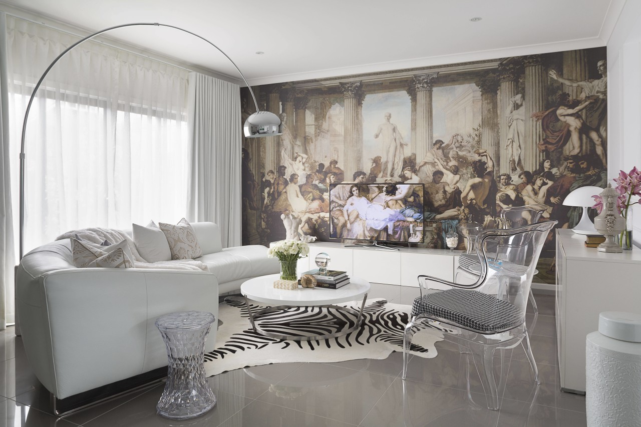 This classic-meets-modern interior is by Massimo Speroni ceiling, furniture, home, interior design, living room, property, room, window, white, gray