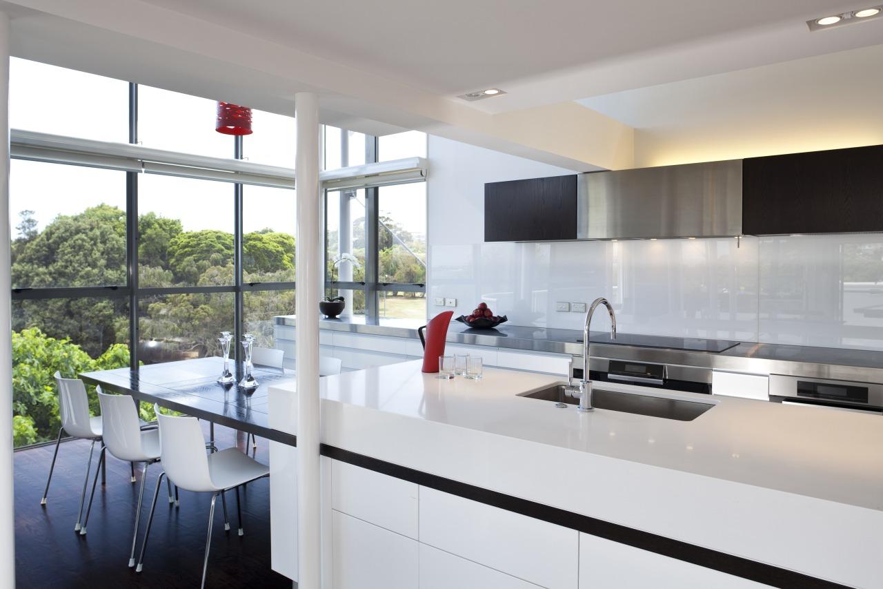 Modern penthouse kitchen architecture, countertop, house, interior design, kitchen, real estate, gray, white