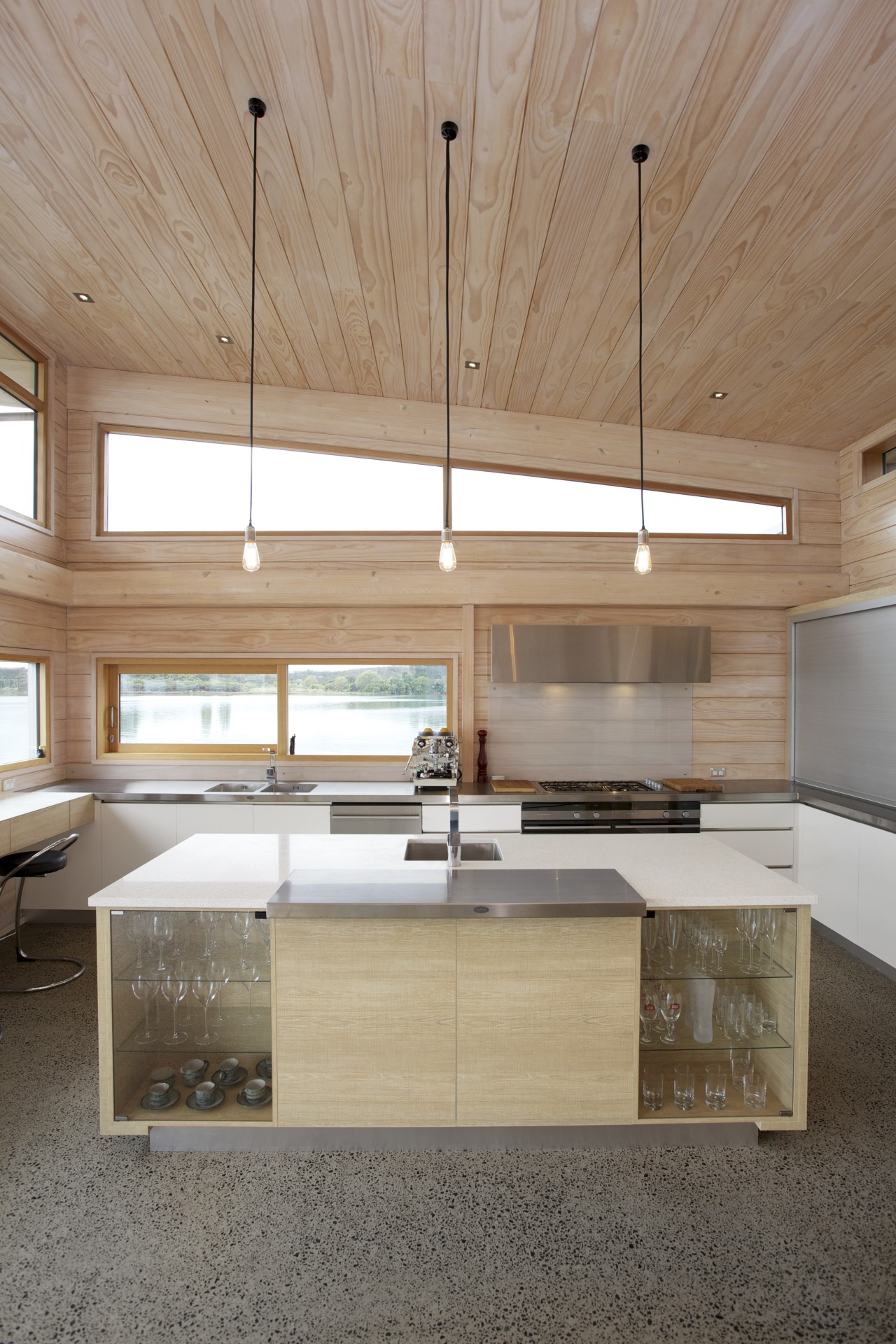 Irene James kitchen in Lockwood house architecture, cabinetry, ceiling, countertop, daylighting, floor, hardwood, home, house, interior design, kitchen, plywood, real estate, wood, gray, brown