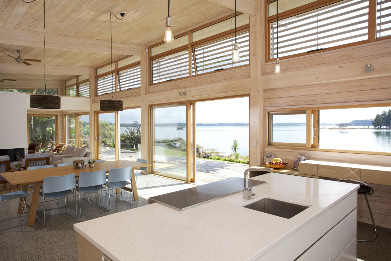 Designed to maximise a spectacular waterfront view, this daylighting, house, interior design, real estate, window, wood, white, orange