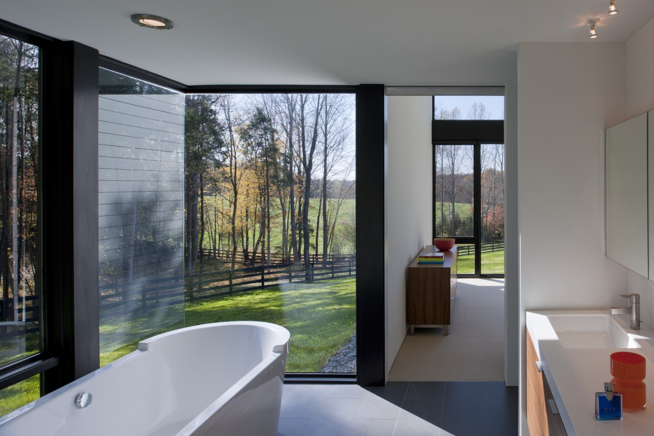The master bathroom in this modern country house architecture, bathroom, home, house, interior design, real estate, room, window, gray