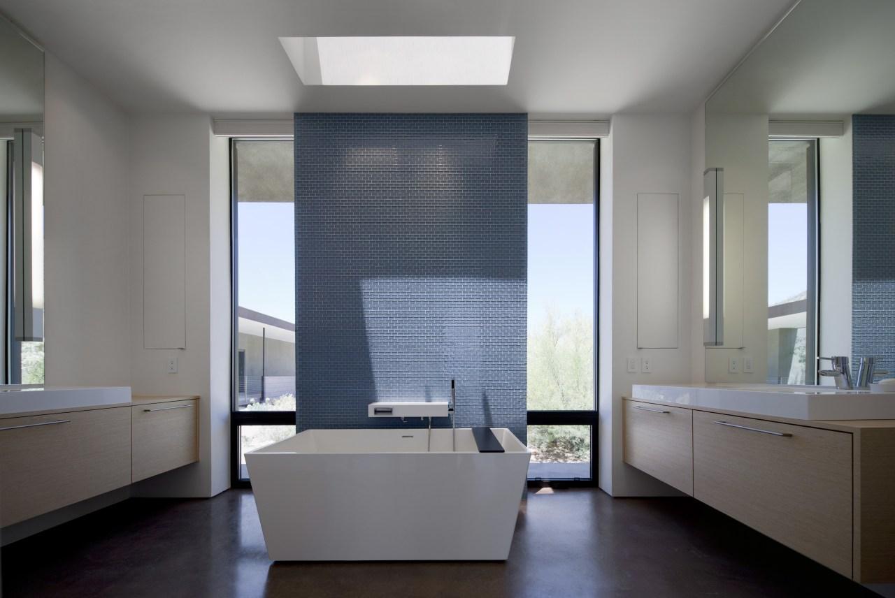 Minimalist desert new house architecture, bathroom, ceiling, daylighting, floor, interior design, real estate, room, window, window covering, gray