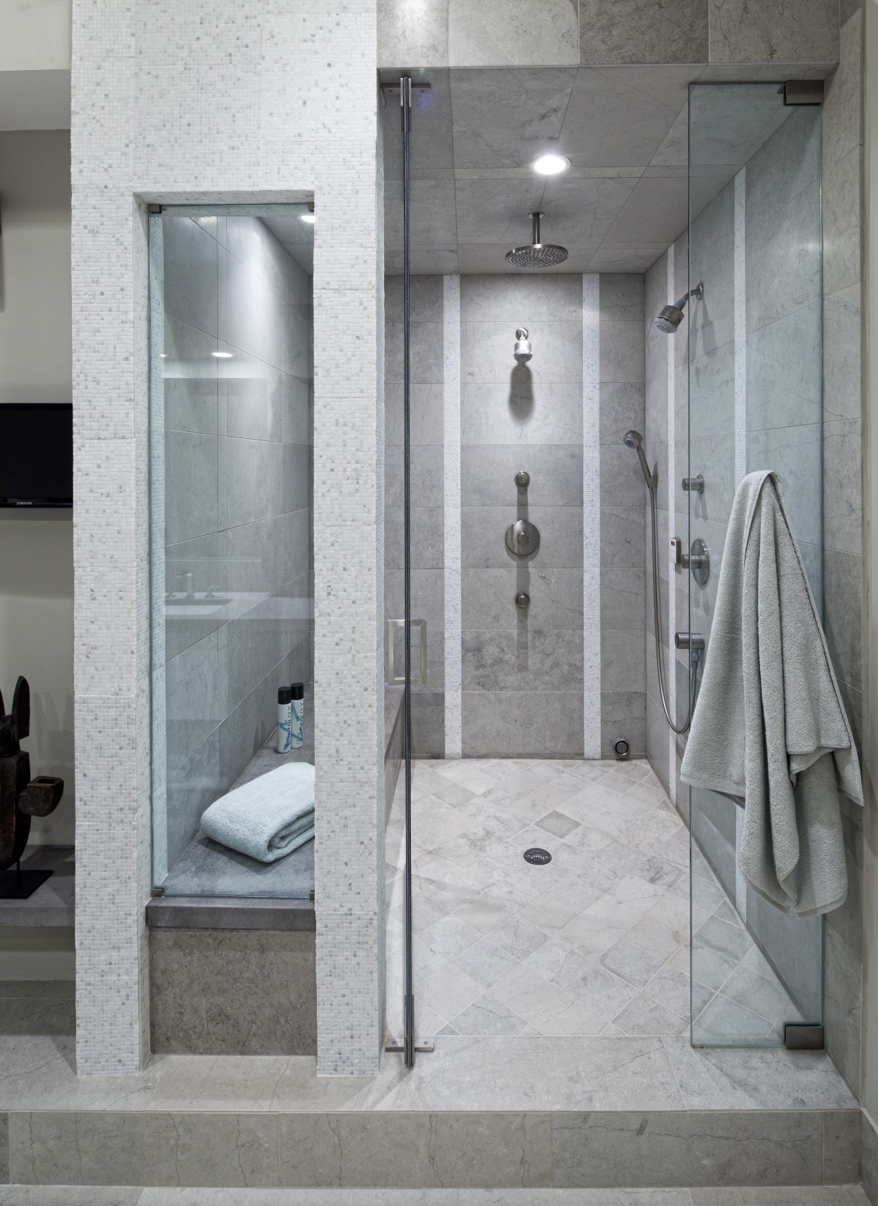 To add interest to this new shower area, bathroom, floor, interior design, plumbing fixture, room, shower, tile, gray