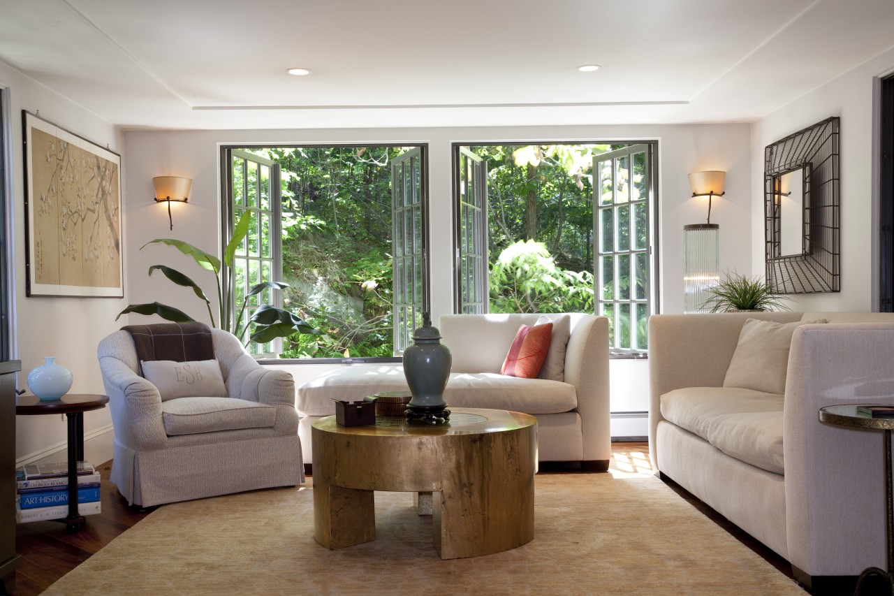 In a major remodel to a home built ceiling, home, interior design, living room, property, real estate, room, window, gray