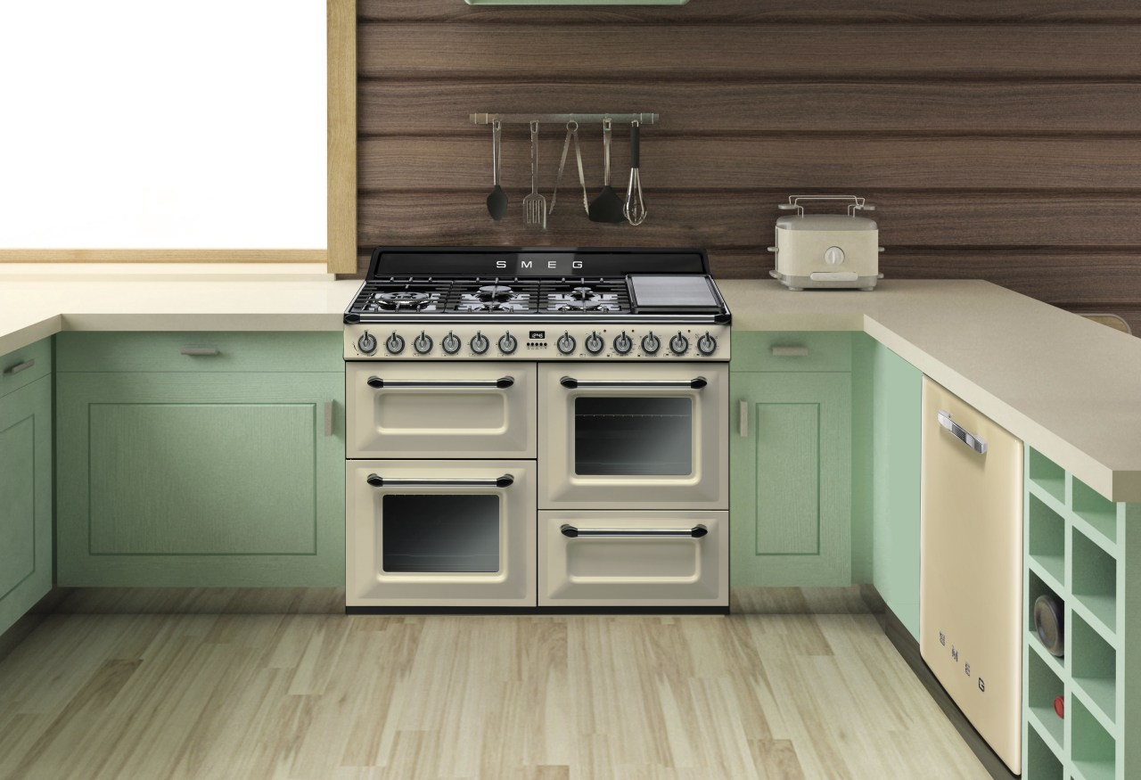 The Victoria 110cm freestanding cooker is a recoent cabinetry, countertop, floor, flooring, furniture, hardwood, home appliance, kitchen, kitchen stove, white