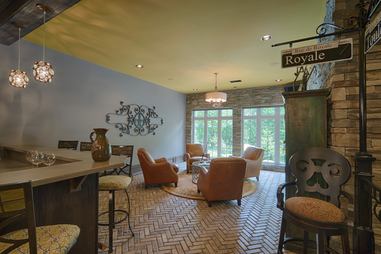 The bar on the lower level is a ceiling, home, interior design, real estate, room, brown