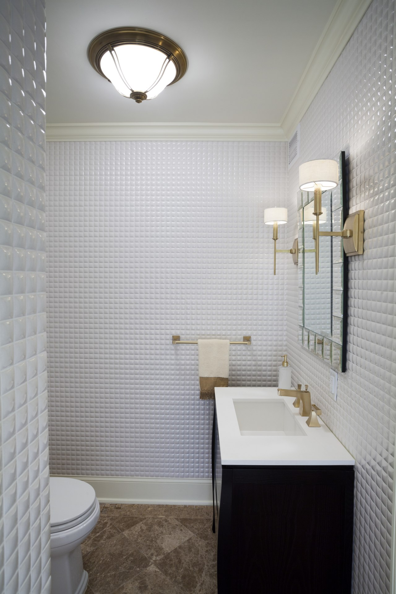 With its floor-to-ceiling glossy white mosaic tiles, this architecture, bathroom, ceiling, daylighting, floor, flooring, home, interior design, plumbing fixture, room, sink, tile, wall, gray