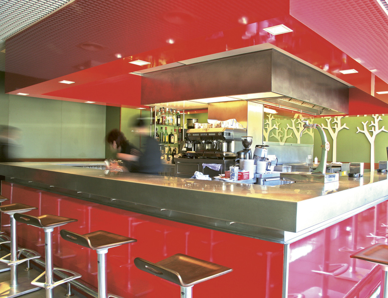 Formica ColorCore transforming interior surfaces cafeteria, fast food, fast food restaurant, interior design, restaurant, red