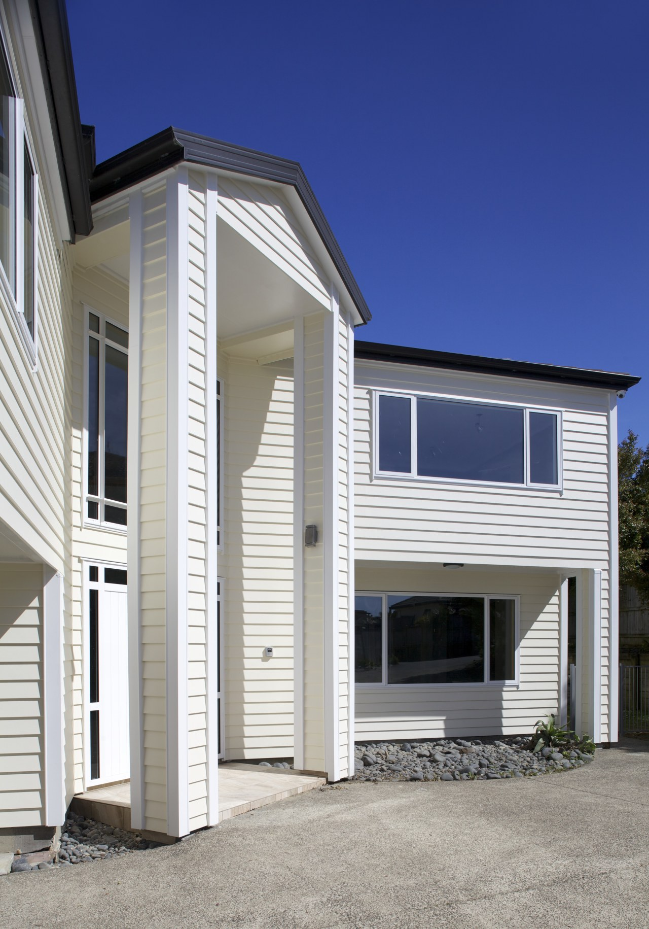 Namu Construction remodelled this expansive home with James architecture, building, elevation, facade, home, house, property, real estate, residential area, siding, window, gray, blue