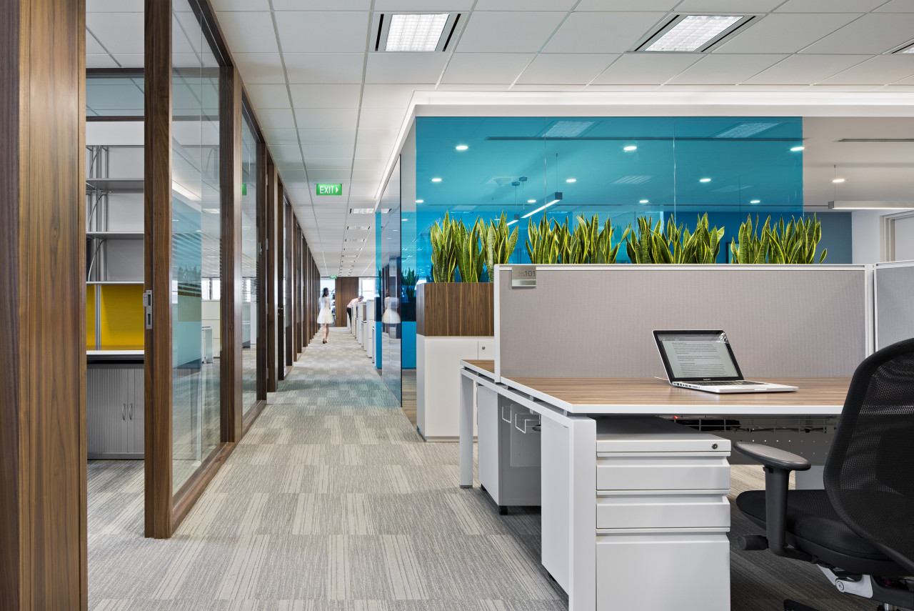 Glossy white finishes and bold colour accents feature interior design, office, product design, gray