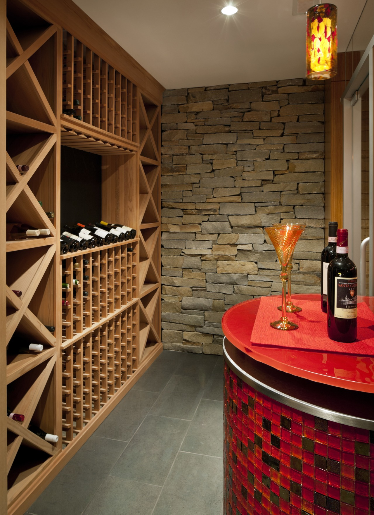 Sleek mosaic tiles in varying tones of red flooring, interior design, liquor store, room, wall, wine cellar, winery, wood, brown, red