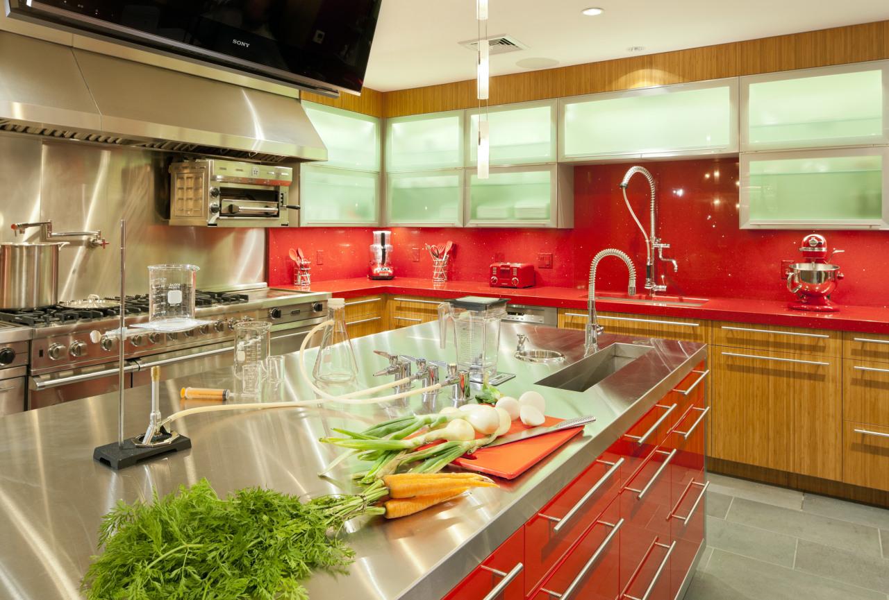 This new kitchen resembles a science laboratory complete countertop, interior design, kitchen, orange