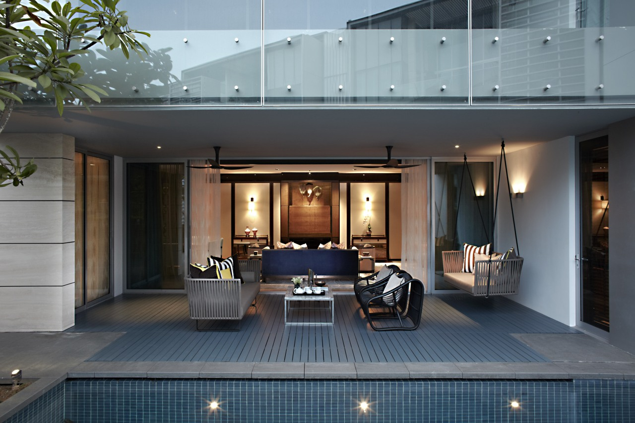 Large doors open up the living area to estate, home, house, interior design, real estate, gray, black