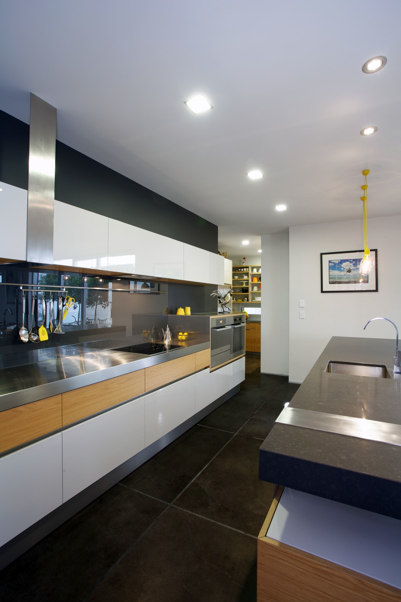 Contemporary kitchen with stainless steel architecture, house, interior design, kitchen, gray, black