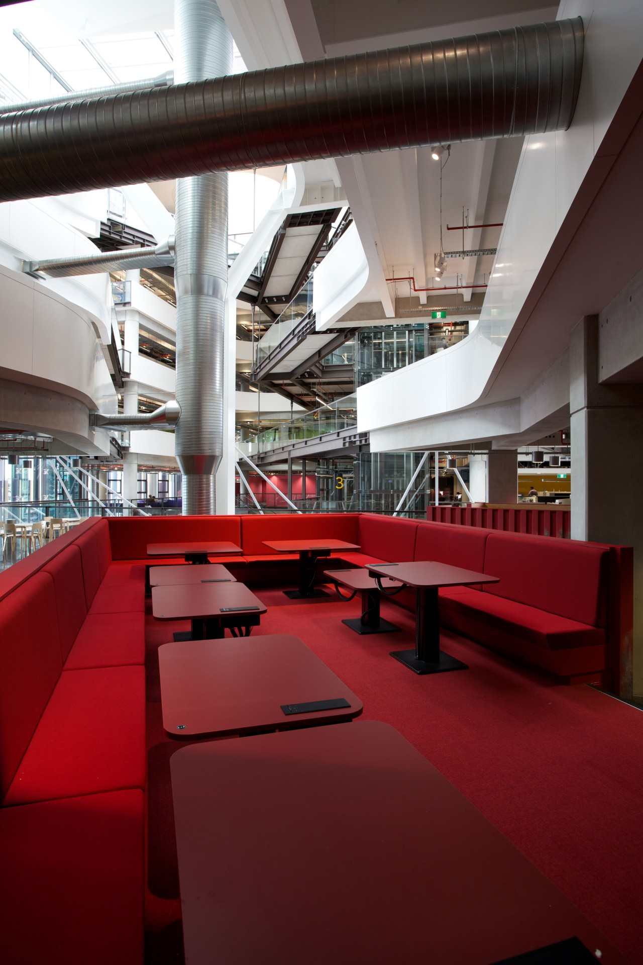 ASB North Wharf joinery by Sage Manufacturing architecture, daylighting, furniture, interior design, structure, table, red