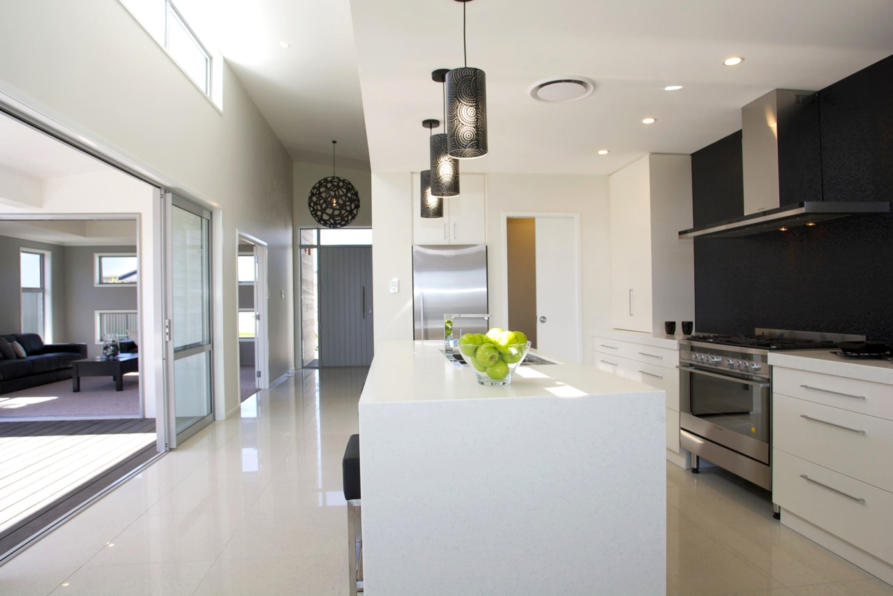 GJ Gardner Homes show home Havelock North architecture, countertop, cuisine classique, floor, home, house, interior design, kitchen, property, real estate, room, white, gray