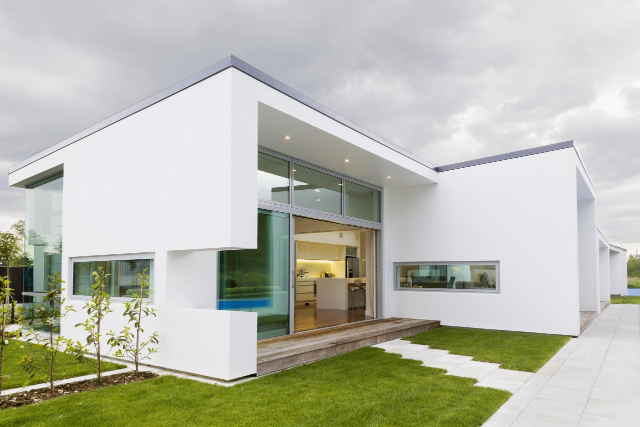 Contemporary new home architecture, elevation, facade, home, house, property, real estate, white