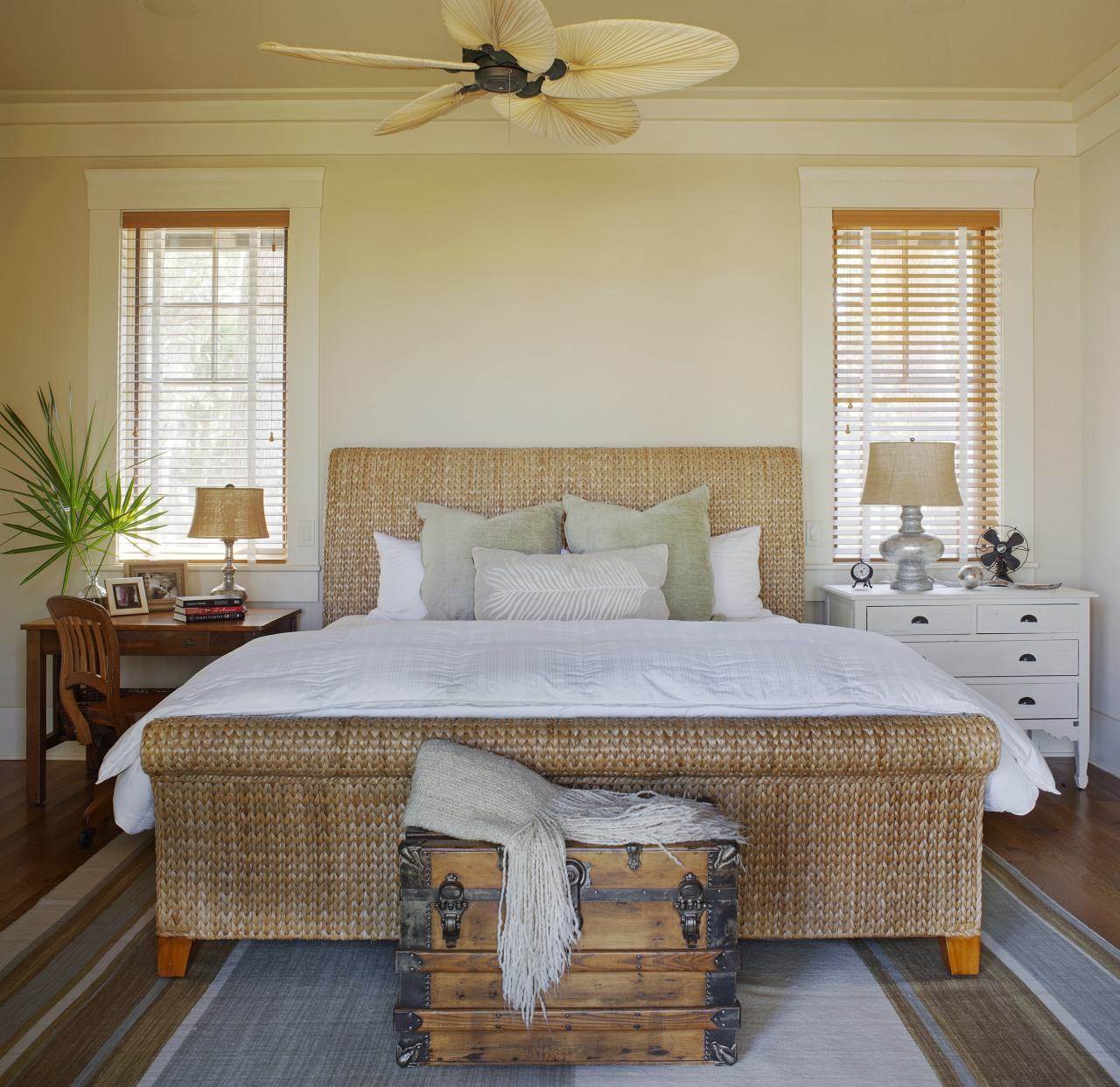 Traditional painted butt boards on the walls and bed, bed frame, bedding, bedroom, ceiling, estate, floor, furniture, home, interior design, living room, real estate, room, wall, window, wood, gray, brown