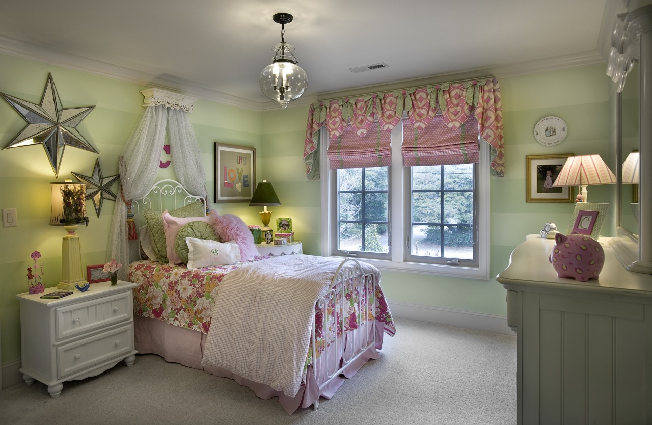 This princess bedroom features painted lime green stripes bed, bed frame, bed sheet, bedding, bedroom, ceiling, estate, home, house, interior design, real estate, room, textile, wall, window, gray, brown
