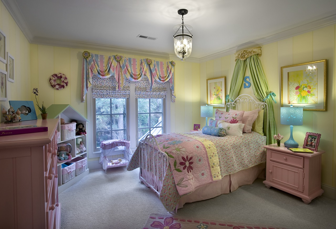 For this fairy tale bedroom, existing furniture was bed, bed sheet, bedding, bedroom, ceiling, furniture, home, house, interior design, linens, product, real estate, room, textile, wall, window, gray