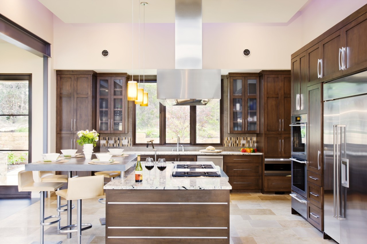 Contemporary café style wood kitchen cabinetry, countertop, cuisine classique, interior design, kitchen, room, white