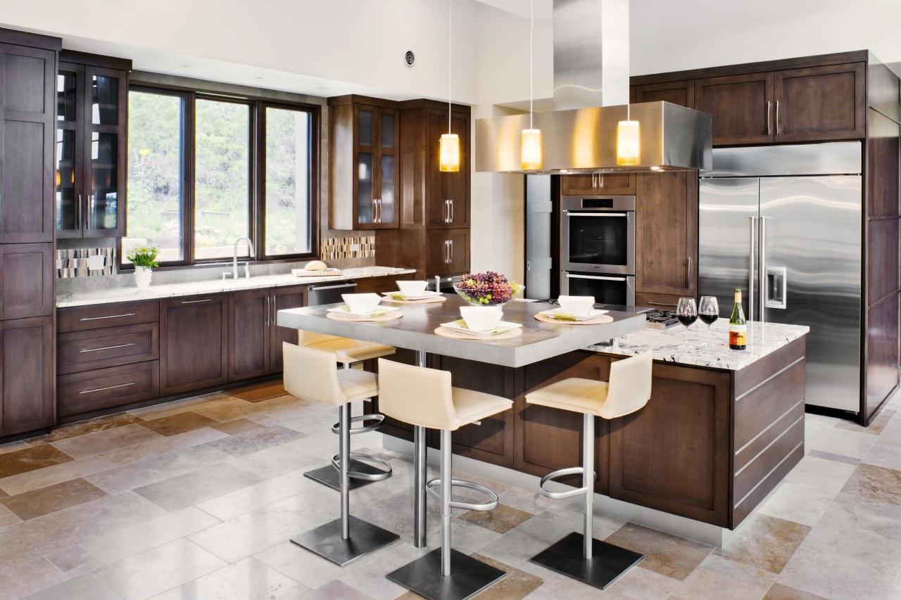 Contemporary café style wood kitchen cabinetry, countertop, cuisine classique, floor, flooring, interior design, kitchen, wood flooring, white