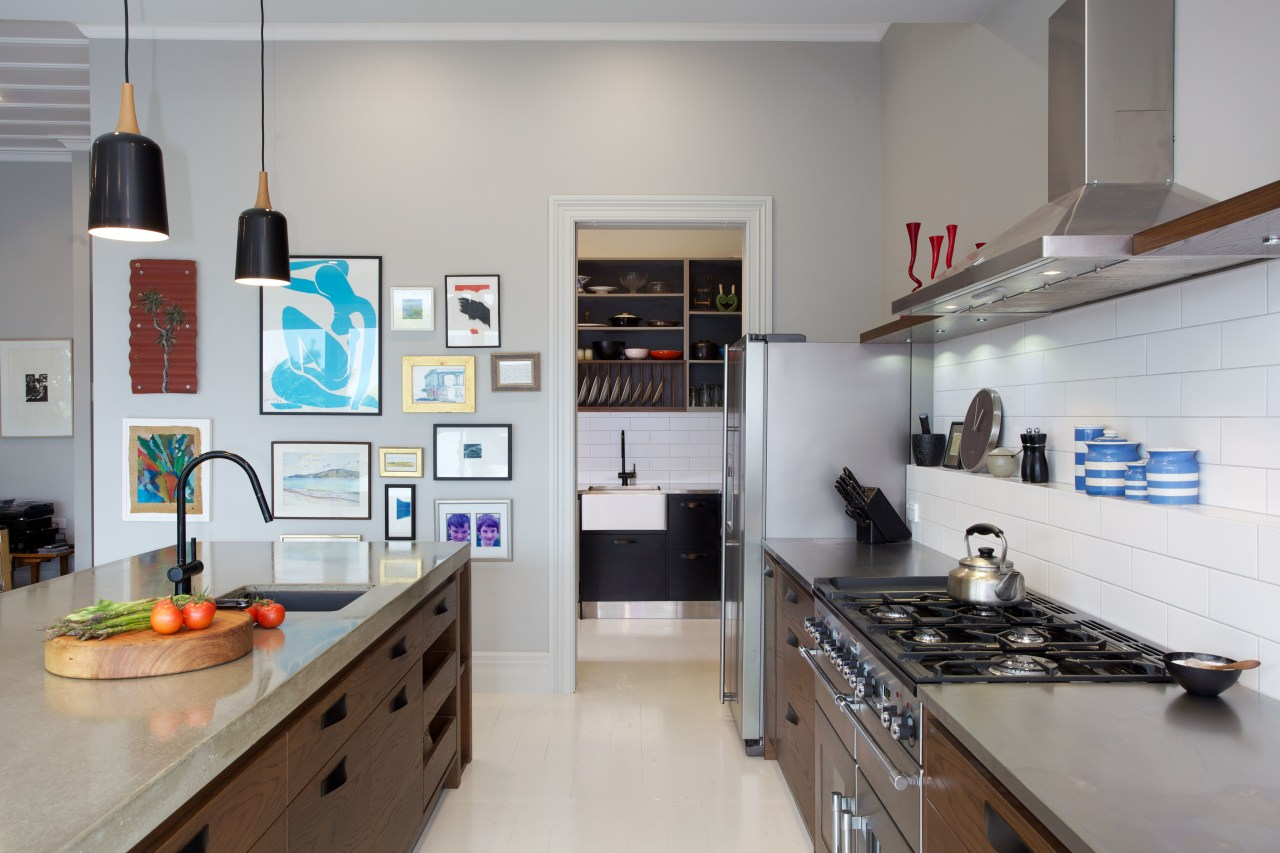 Eclectic kitchen with display space countertop, interior design, kitchen, room, gray