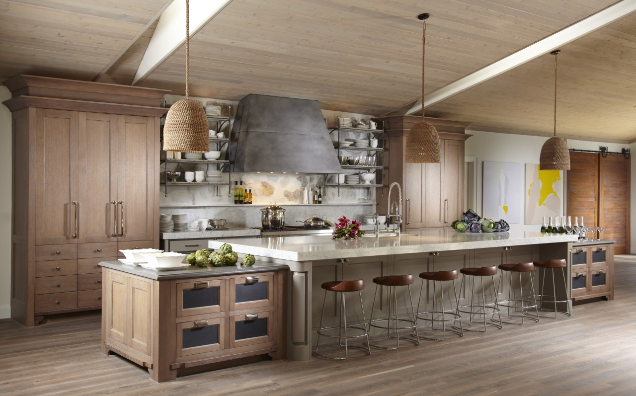 With its natural, raw materials and shades of countertop, cuisine classique, interior design, kitchen, brown, gray