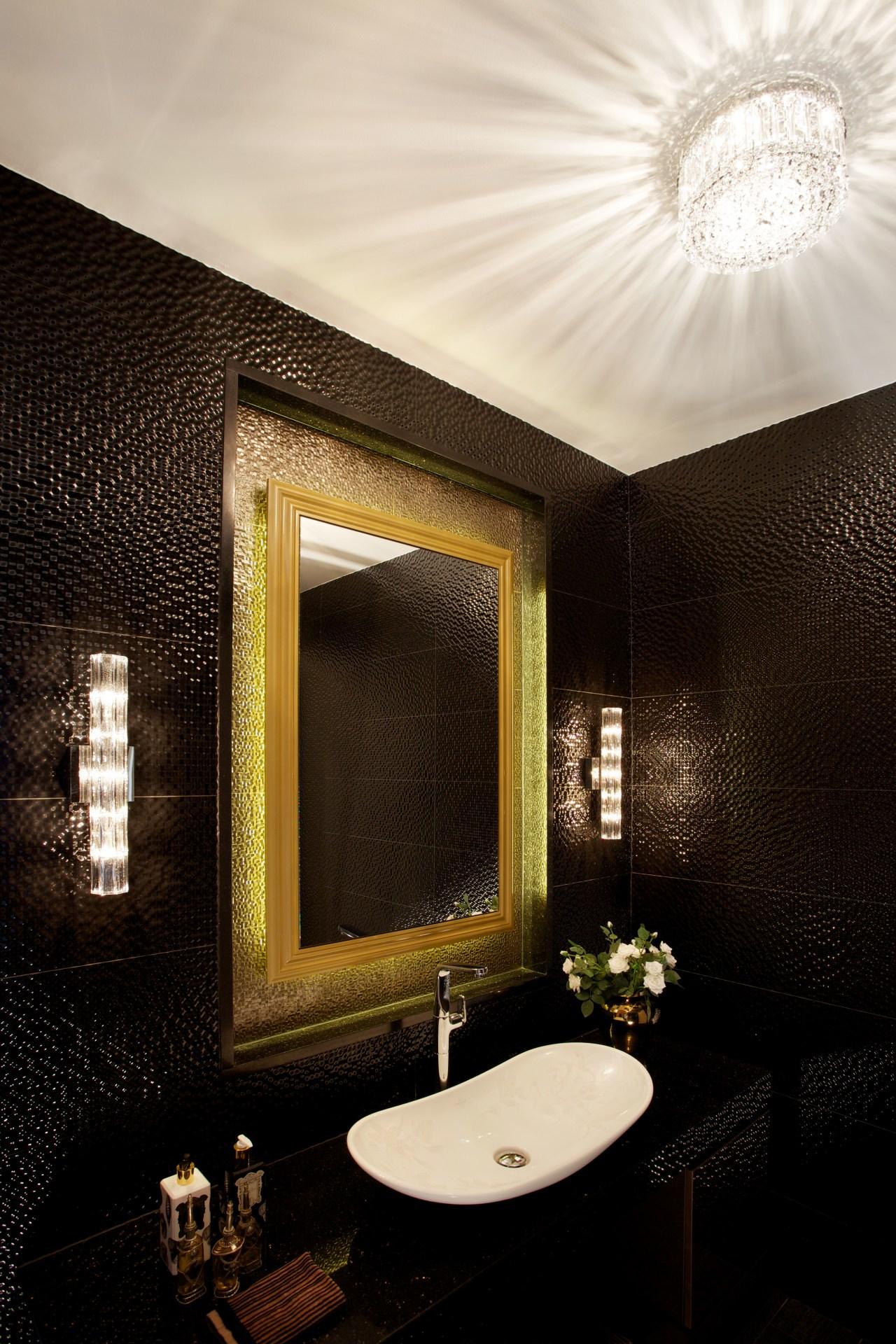 Powder room by architect Henry Lin bathroom, ceiling, daylighting, interior design, light fixture, lighting, room, wall, black, white